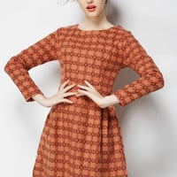 Printed Long Sleeve A-Line Pleated Mini Dress