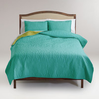 Turquoise and Oasis Green Simone Reversible Quilt - World Market