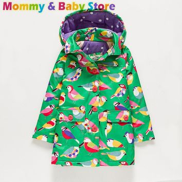 For 2-8 years old Girl Long Coat Autumn Brand Trench for Girl Jacket Thicken Windbreaker Green Bird Printed Children Clothes