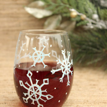 Snowflake Stemless Wine Glass / Hand Painted Wine Glass