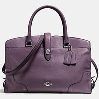 COACH Trending Women Men Shopping Leather Tote Handbag Shoulder Bag Office Package Purple I