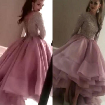 Robe De Soiree 2015 Formal Prom Gowns Party Sparking crystal Beading Sequins Bodice Long Sleeve Organza Evening Dresses