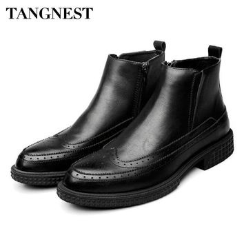 Tangnest Men's Vintage Cut-out Brogue Leather Ankle Boots