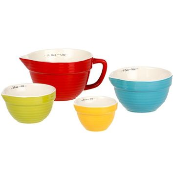 Creative Co-Op Stoneware Batter Bowl Shaped Measuring Cups