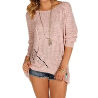Sale-mauve Tape Yarn Sweater