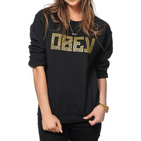 Obey Gothic Lace Black Crew Neck Sweatshirt