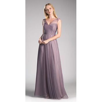 Orchid Illusion V-Neck and Back Long Formal Dress Sleeveless