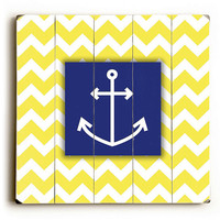 Anchor - Chevron Yellow & White Planked Wooden Art Sign