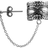 Sterling Silver Ear Cuff Earring with Chain & Ball Stud (one piece), 1/2 inch