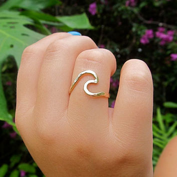 Gold Wave Ring, Surf, Ocean, Hawaii Beach Jewelry, Surfer Girl, Gift Idea, Stocking Stuffer, Hammered, Handmade