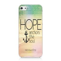 CRHK® Hope Anchors The Soul Bible Verse Anchor Pattern Clear Back Skin Snap on Case Cover for 2013 Apple iPhone 5C + Screen Protector + CRHK stylus