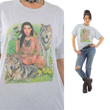 Native American shirt Wolf top Animal tee Southwestern Vintage 1990s Gray Graphic tunic Large