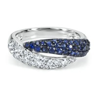 Lab-Created Sapphire Twist Ring in Sterling Silver