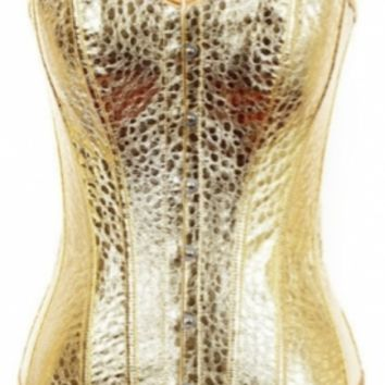 Gold patterned Boned Corset