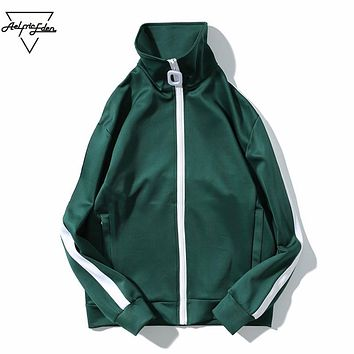 Color Block Stripe Track Jackets Coats Men Hip Hop Jacket Men Baseball Jacket