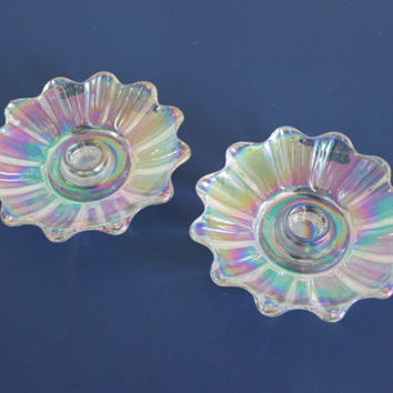 Iridescent Celestial Flower Glass Candlestick Holders, Candles, Candle Holder, Glass Decor