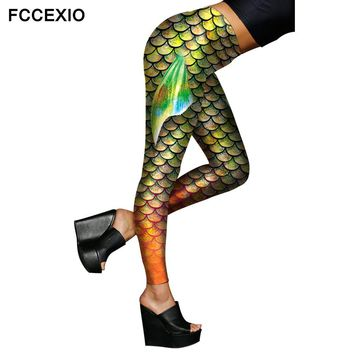 FCCEXIO Female Sexy Ombre Green Shiny Mermaid Wings Leggings 2017 Fish Scale with Tail Fins Printed  Stretch Fitness Leggings
