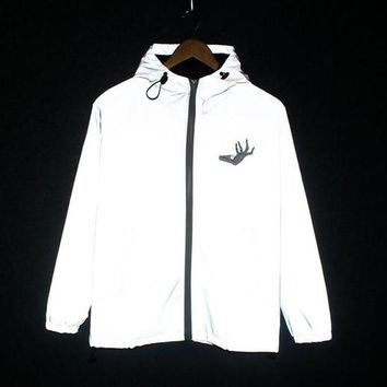 Spring/autumn Hand Flowers Men windbreaker 3m reflective jacket casual hip hop men jackets