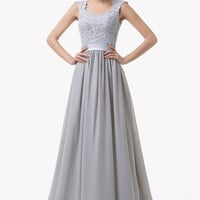 Grace Karin Chic Lace Crochet  Gray Bridesmaid Dress Wedding Evening