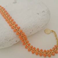 Orange Bridesmaid Jewelry - Sparkly Bead Bracelet - Orange Crystal Bracelet - Gold Chain Bracelet - Make Your Own Set - Gift Under 20 - Hers