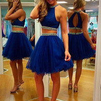 A Line Round Neck 2 Pieces Short Blue Prom Dress, 2 Pieces Short Formal Dress, Graduation Dress, Homecoming Dress
