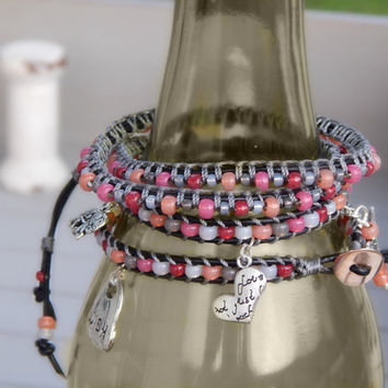 Fall Color Red Pink Coral and Gray macrame ARM PARTY, leather stacking bracelet, seed bead and leather boho bracelet,