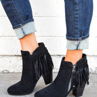 Red Rocks Fringe Bootie Black