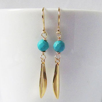 boho chic gold turquoise dangle earrings feather dangle earring long earrings turquoise and gold drop earrings bohemian