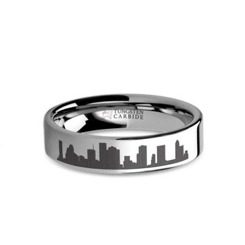 Houston City Skyline Cityscape Laser Engraved Tungsten Ring