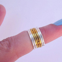 Trendy 7  Knuckle Rings  - Mid Knuckle Rings - Stackable Rings -  You Chose Colors -  by Tiny Box