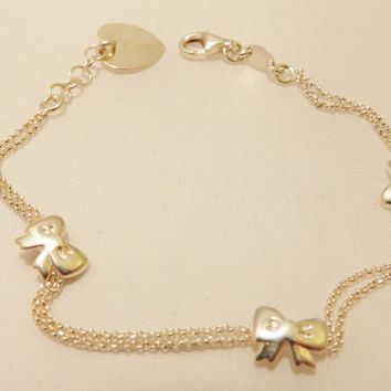 Sterling Silver Heart and Bows Vintage Bracelet