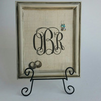 French Country Framed Earring Display, Antique Beige, Shabby Chic, Cottage Chic Decor