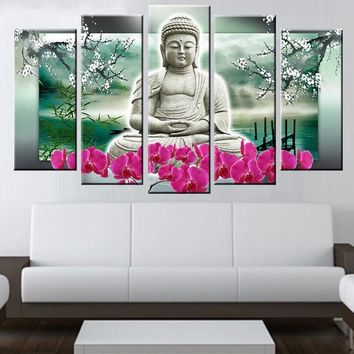 Art Oil Painting 5 pcs Buddha modern home-painted No Frame