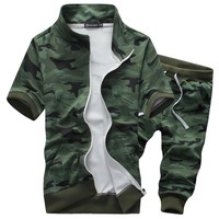 2016 brand summer men 2 piece suit set casual and camouflage shorts set male shorts sets