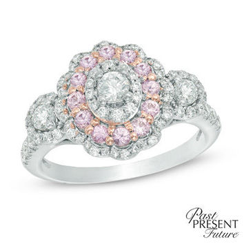 3/4 CT. T.W. Diamond and Pink Sapphire Frame Past Present Future® Three Stone Engagement Ring in 14K Two-Tone Gold - View All Rings - Zales