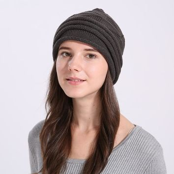 FAGEKALE  Winter beret hat for women knitted fashion lady cap good quality hat fur beret for girl solid colors New pattern M1