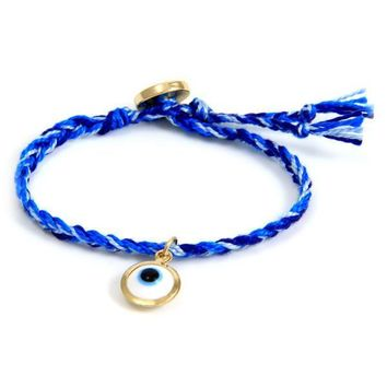 Multi Blue Braided Friendship Bracelet with Gold Evil Eye Charm