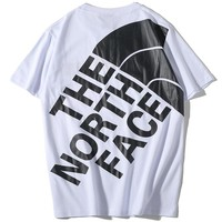 The North Face 2019 new couple models printed logo round neck half sleeve T-shirt white