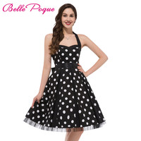 Fashion Summer Dress 2017 Sexy Halter Robe Polka Dots Pinup Rockabilly 50s 60s Vintage Dress Vestidos Plus Size Women Dresses