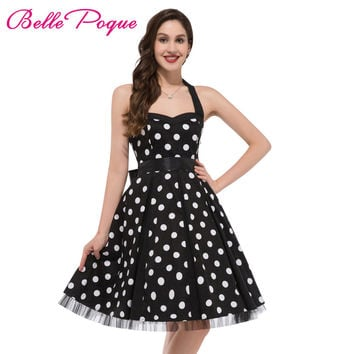 Fashion Summer Dress 2017 Sexy Halter Robe Polka Dots Pinup Rock 696db259fb51