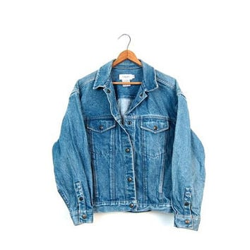 80s Jean Jacket Blue Washed Out Denim Jacket Cropped CALVIN Klein Snaps Jacket Fall Coat Hipster Boho Crop Jean Jacket Women's Small Medium