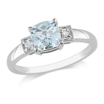 0.04 CT  Diamond TW And 4/5 CT TGW Aquamarine Fashion Ring  Silver I3