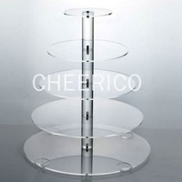 CheericoTM 5 Tier Maypole Round Wedding Acrylic Cupcake Stand Tree Tower Cup Cake Display