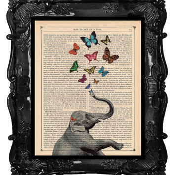 ELEPHANT PRINT  ELEPHANT counting butterflies  by BlackBaroque