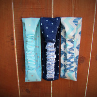 set of 3 retro style stretch headbands. gift for her. bridesmaid gift. denim headband.