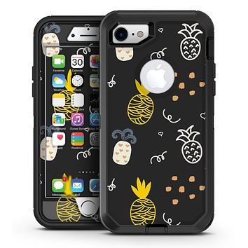 Golden Yellow Pineapple Over Black - iPhone 7 or 7 Plus OtterBox Defender Case Skin Decal Kit