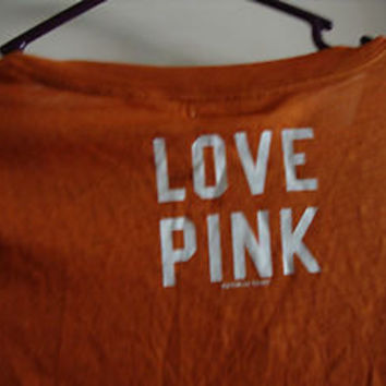 Victoria's Secret Love Pink t shirt University of Texas Longhorns Hook em Horns
