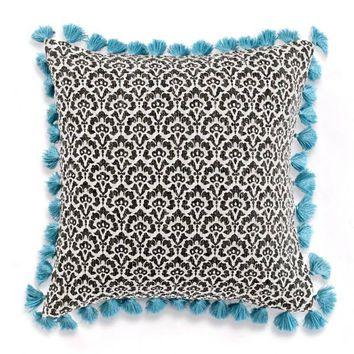 Anthology™ Kiran Floral Scale Square Throw Pillow in Black/Teal