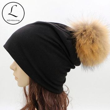 ESBU3C GZHILOVINGL 2016 Spring Winter Thin Ladies Womens Solid Color Skullies And Beanies Ins Hot Slouch Womens Beanie Fur Pom Pom Hats