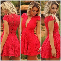 Short Red Homecoming Dresses Lace Deep V Neck Red Lace Homecoming Dress Short Cocktail Dresses Prom Party Dress